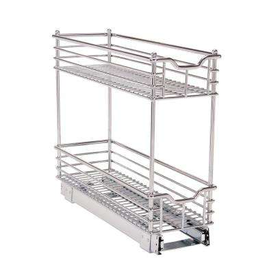 7 in.  Deep 2 Tier Sliding Organizer KD in Chrome