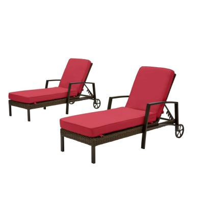 Whitfield Dark Brown Wicker Outdoor Patio Chaise Lounge with CushionGuard Chili Red Cushions (2-Pack)
