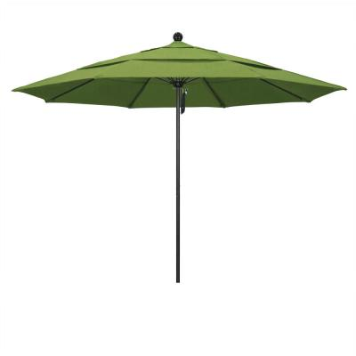 11 ft. Stone Black Aluminum Market Patio Umbrella with Pulley Lift and Fiberglass Ribs in Spectrum Cilantro Sunbrella
