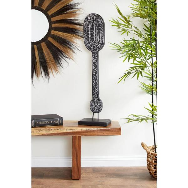 Litton Lane Hand-carved Black Tribal Paddle Wood Sculpture on Reclaimed Wood