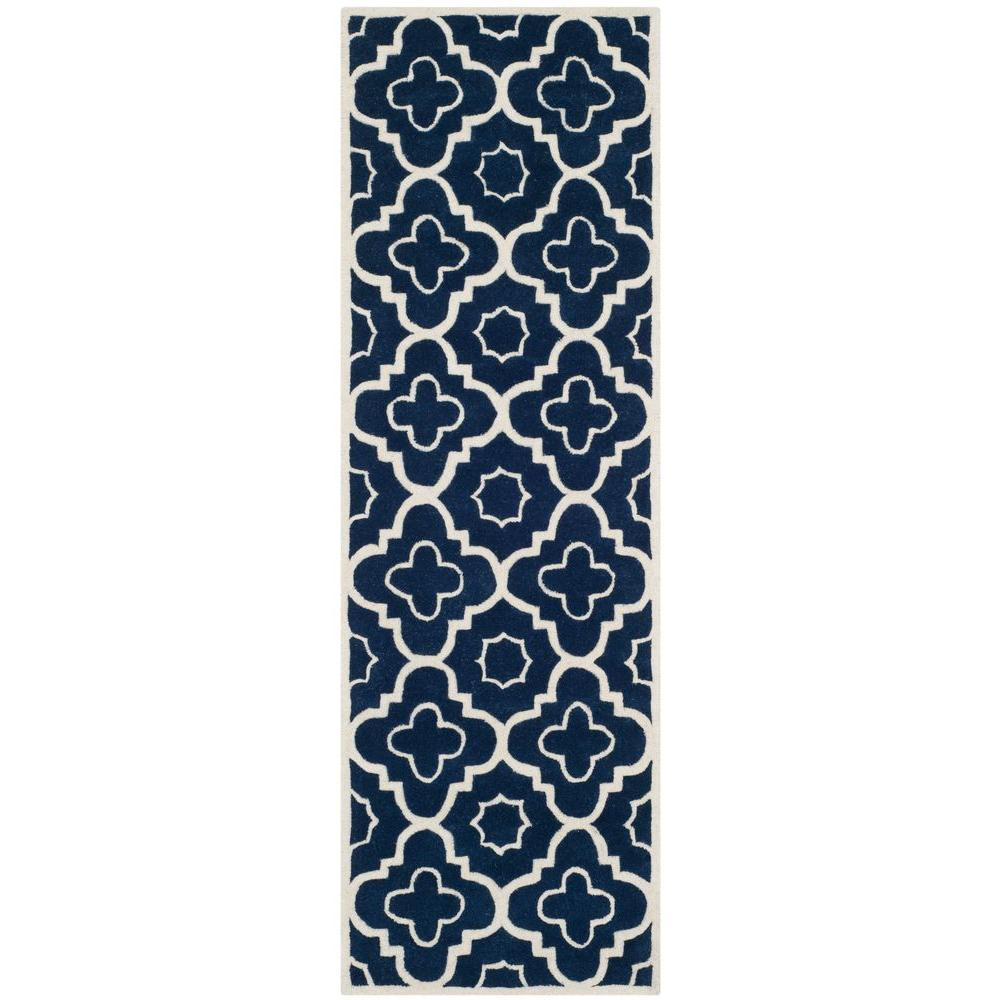 Safavieh Chatham Dark Blue/Ivory 2 ft. 3 in. x 7 ft. Runner