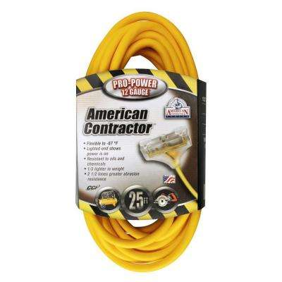 25 ft. 12/3 SJEOW Outdoor Extension Cord with 3 Outlet Power Block