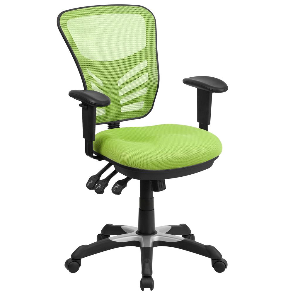 Mid-Back Green Mesh Swivel Task Chair with Triple Paddle Control