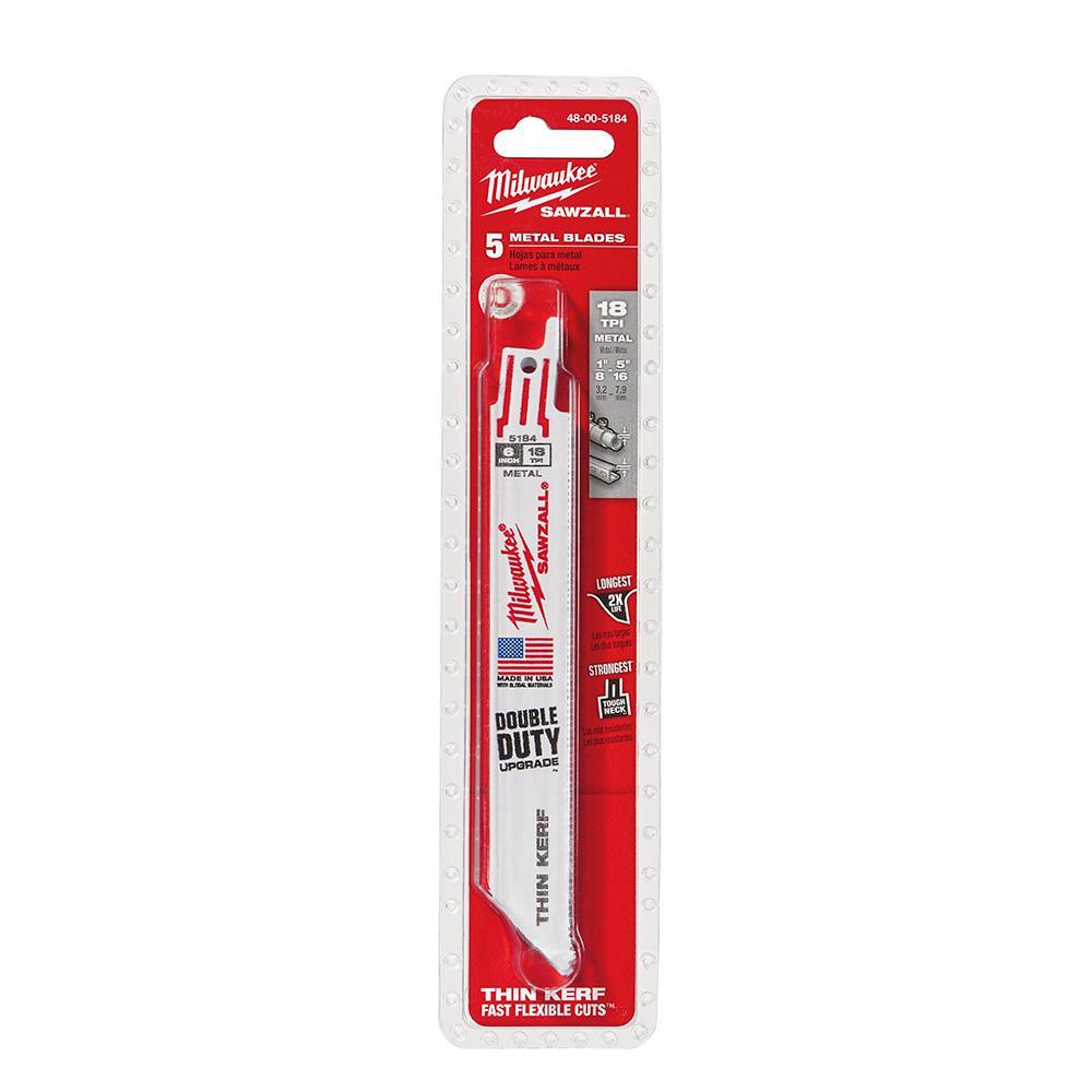 Milwaukee 6 in. 18 Teeth per in. Thin Kerf Metal Reciprocating Saw Blade (5-Pack)