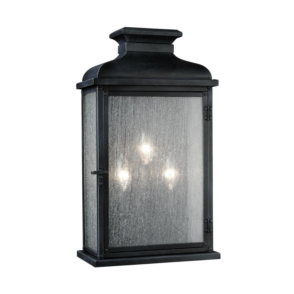Feiss Pediment 10 in. W 3-Light Dark Weathered Zinc Outdoor 18.125 in. Wall Mount Sconce with Clear Seeded Glass