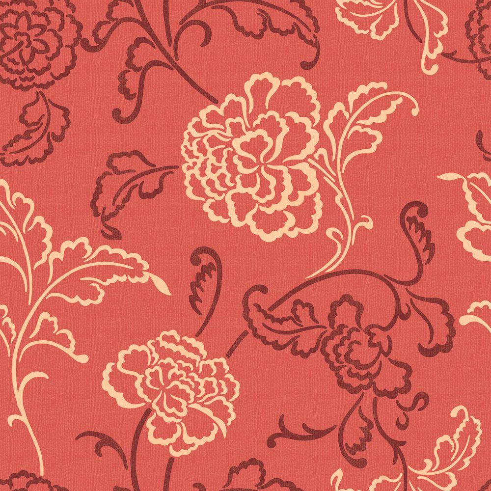 The Wallpaper Company 56 sq. ft. Orange Contemporary Line and Floral on a Woven Ground Wallpaper