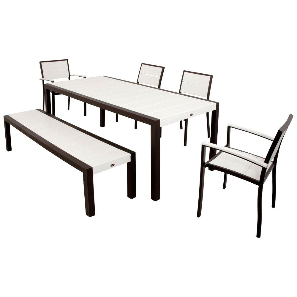 Trex Outdoor Furniture Surf City Textured Bronze 6-Piece Plastic Outdoor Patio Dining Set with Classic White Slats