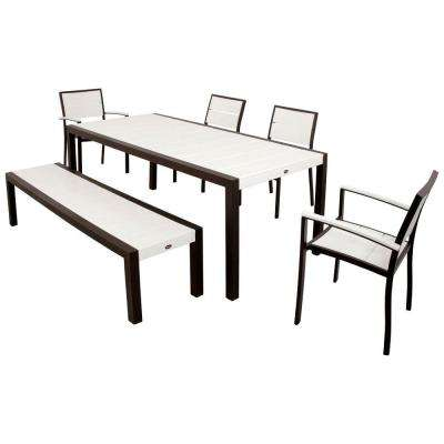 Surf City Textured Bronze 6-Piece Plastic Outdoor Patio Dining Set with Classic White Slats
