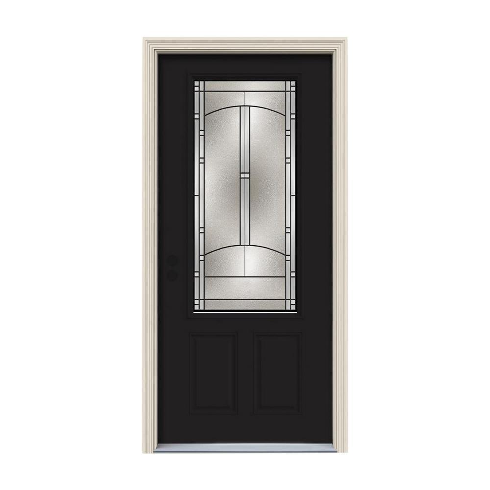JELD-WEN 36 in. x 80 in. 3/4 Lite Idlewild Black w/ White Interior Steel Prehung Right-Hand Inswing Front Door