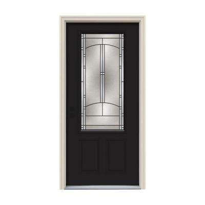 36 in. x 80 in. 3/4 Lite Idlewild Black w/ White Interior Steel Prehung Right-Hand Inswing Front Door