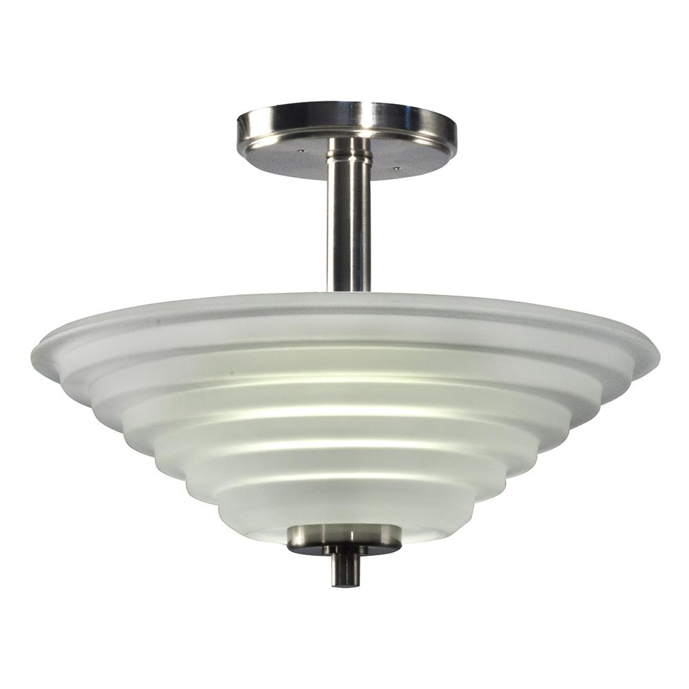 Solomon 18-Watt Satin Nickel Integrated LED Ceiling Semi-Flushmount