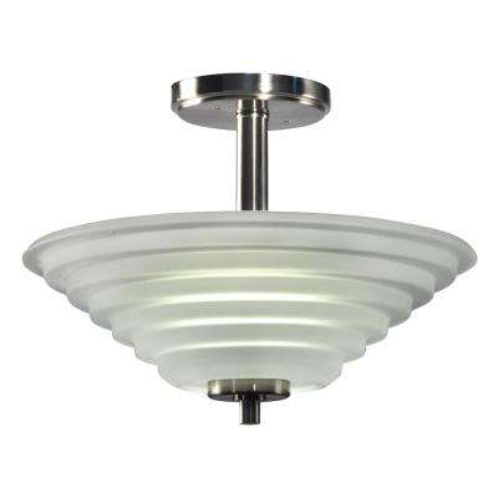 Solomon 18-Watt Satin Nickel Integrated LED Ceiling Semi-Flushmount