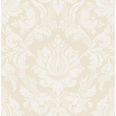 56.4 sq. ft. Briar Beige Damask Wallpaper