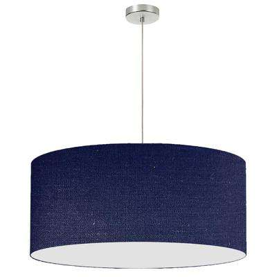 1 Light Navy Blue Pendant With Electroplated Steel Shade