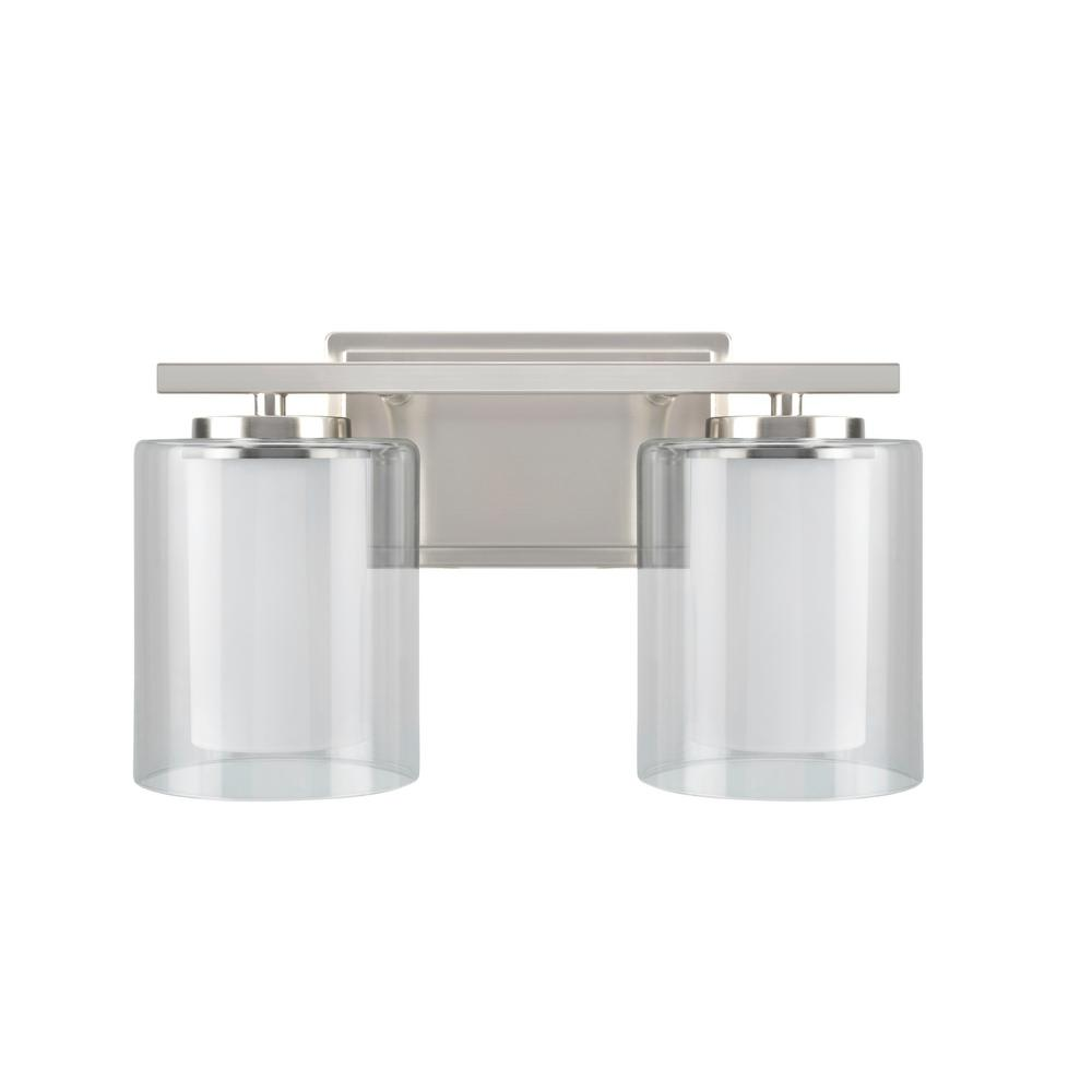 Aspen Creative Corporation 2-Light Satin Nickel Vanity Light with Clear Glass Shade