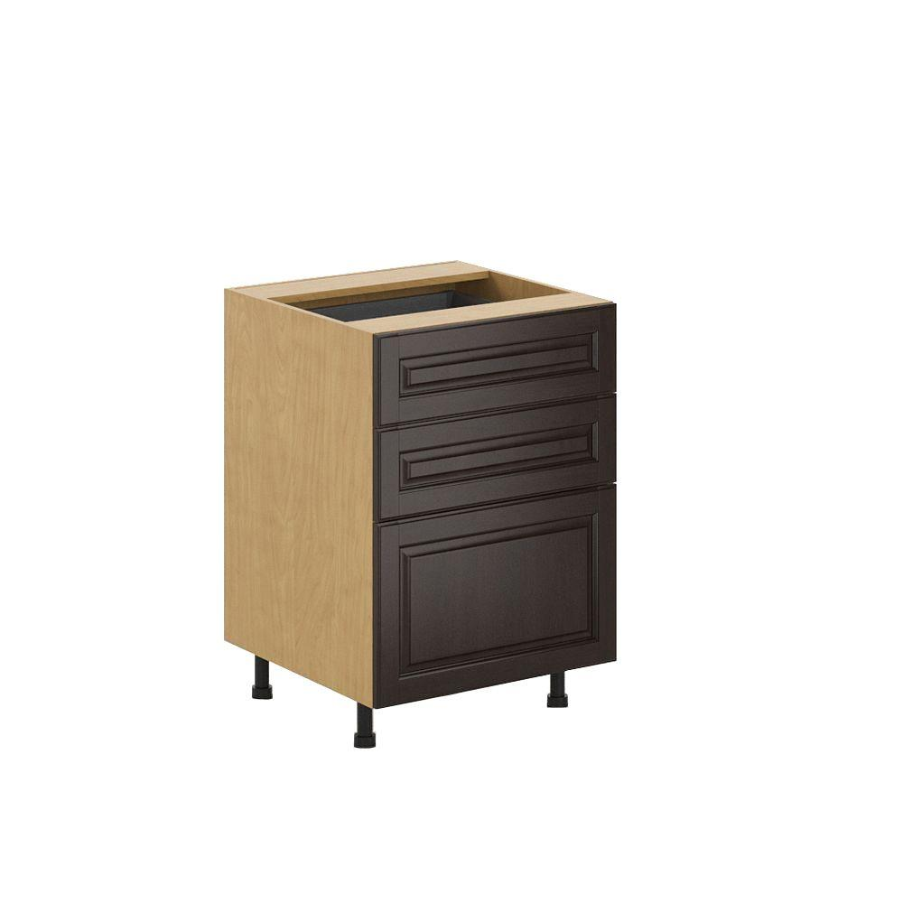 Ready to Assemble 24x34.5x24.5 in. Naples 3-Drawer Base Cabinet in Maple