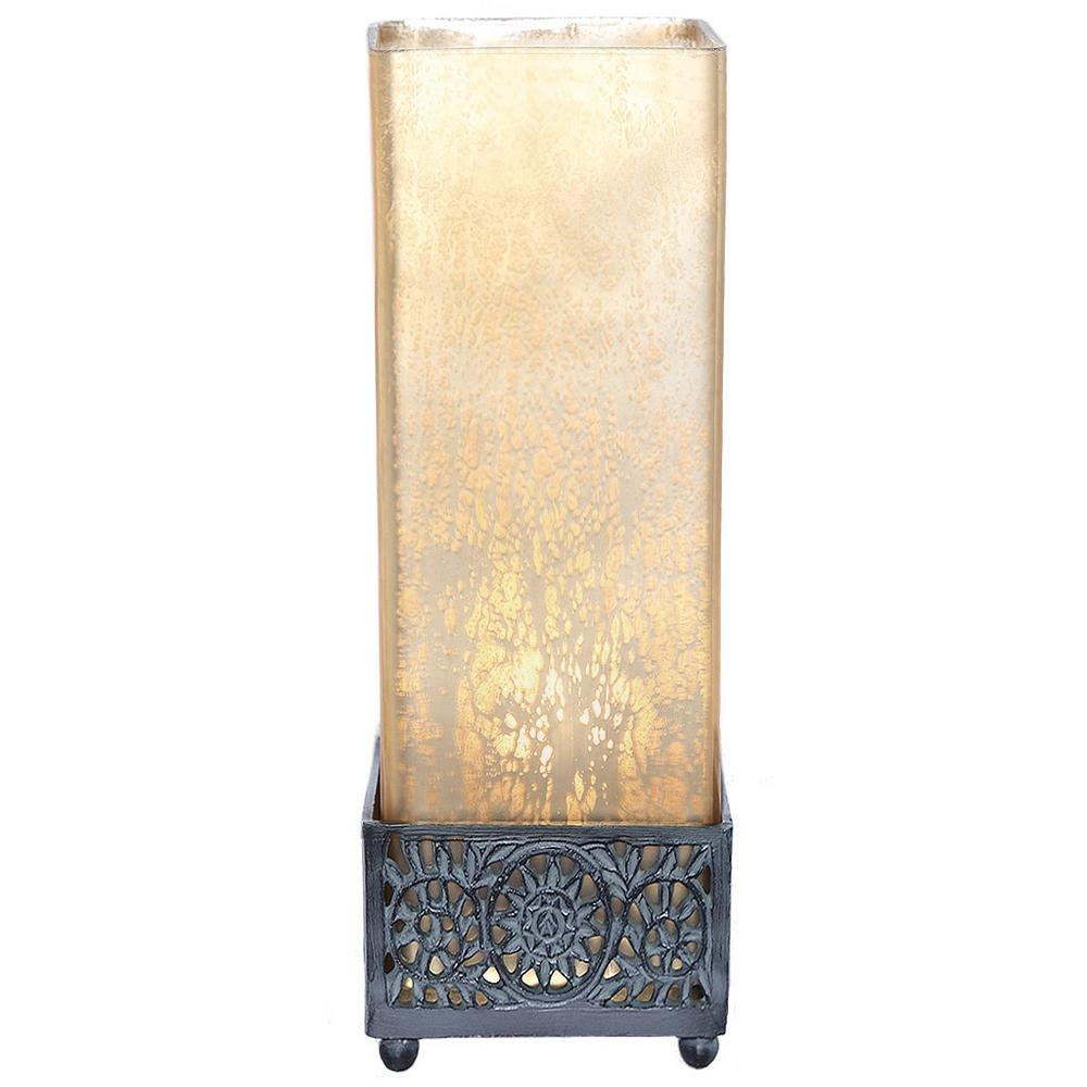 12.9 in. Champagne Accent Lamp with Square Studio Art Mercury Glass