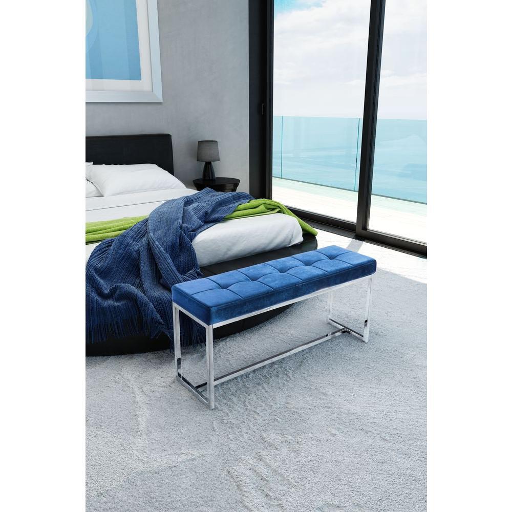 Zuo Synchrony Cobalt Blue Velvet Bench Product Image