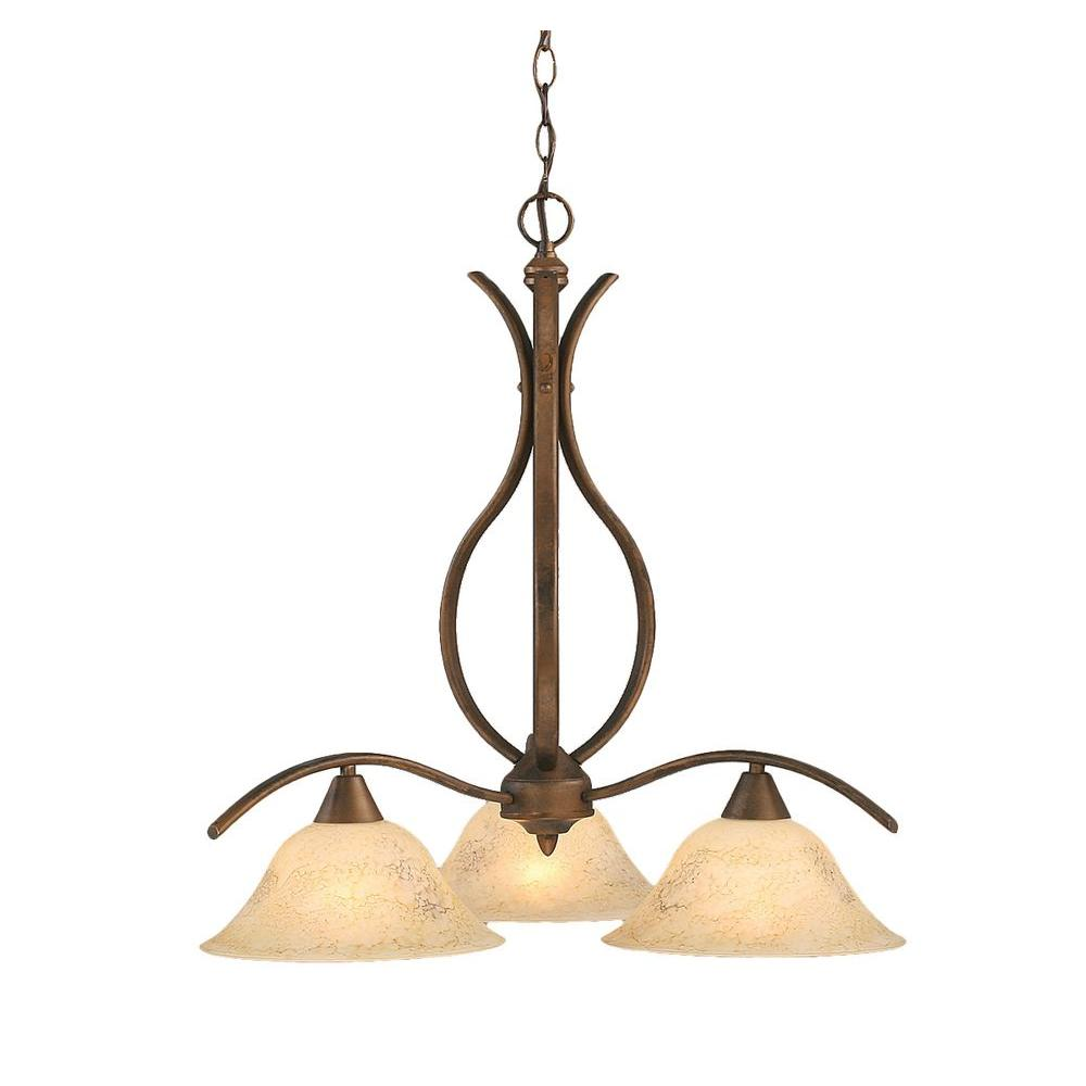 Filament Design Concord 3-Light Bronze Chandelier with Italian Marble Glass