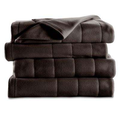 Queen Quilted Fleece Heated Blanket in Newport Blue