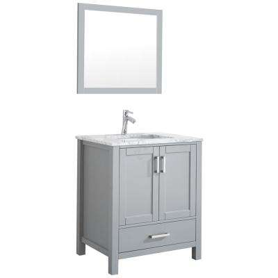 Amaya 30 in. Bathroom Vanity in Grey with Marble Vanity Top in Cararra White with White Ceramic Basin and Mirror