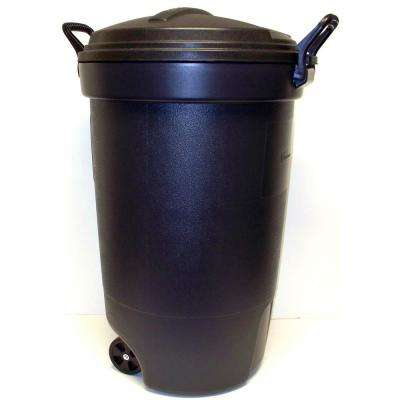 32 Gal. Wheeled Trash Can in Black with Lid