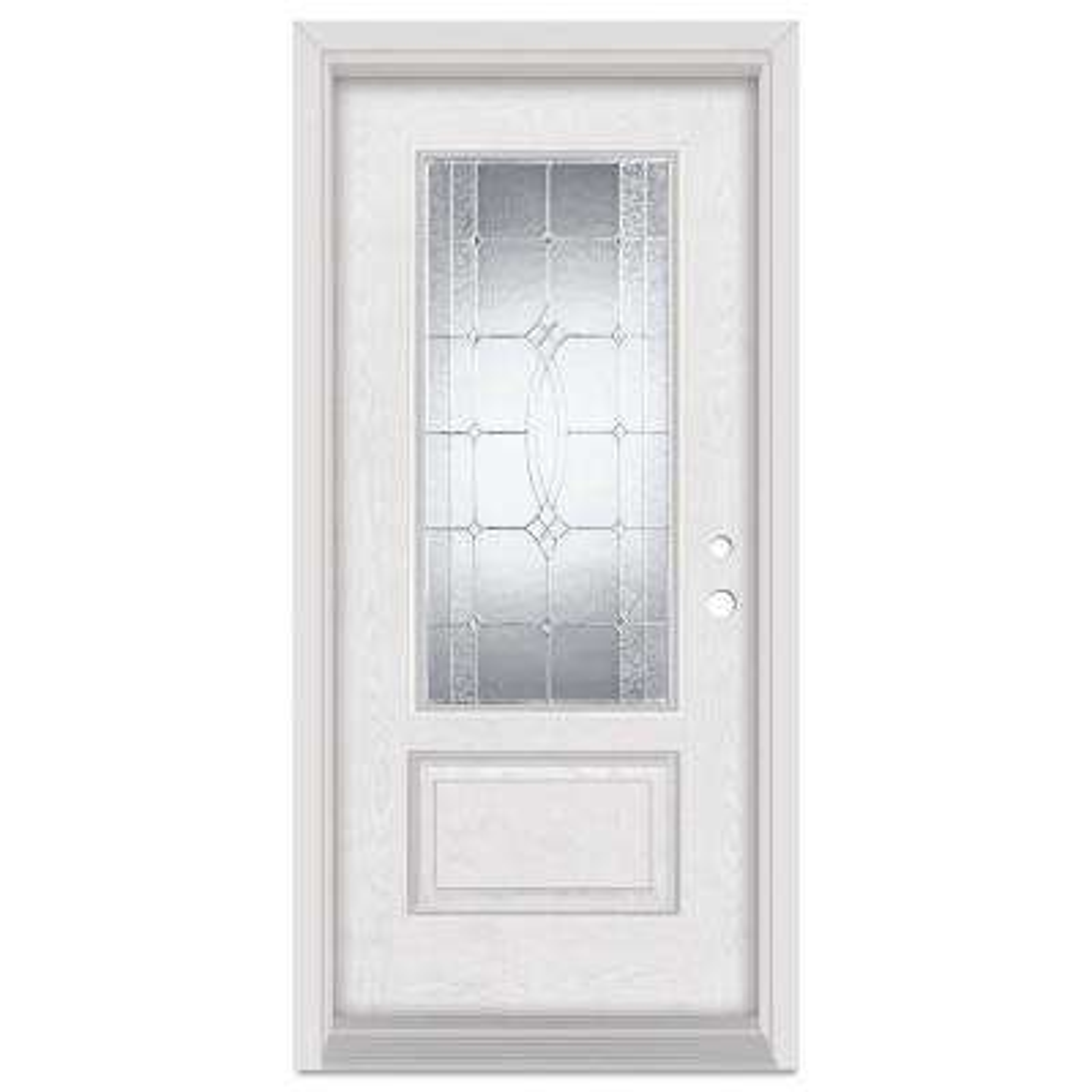 33.375 in. x 83 in. Diamanti Classic Left-Hand 3/4 Lite Zinc Finished Fiberglass Oak Woodgrain Prehung Front Door