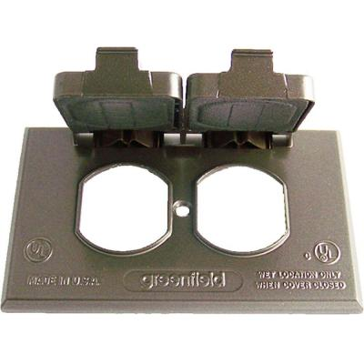 Weatherproof Electrical Duplex Outlet Cover - Horizontal - Bronze