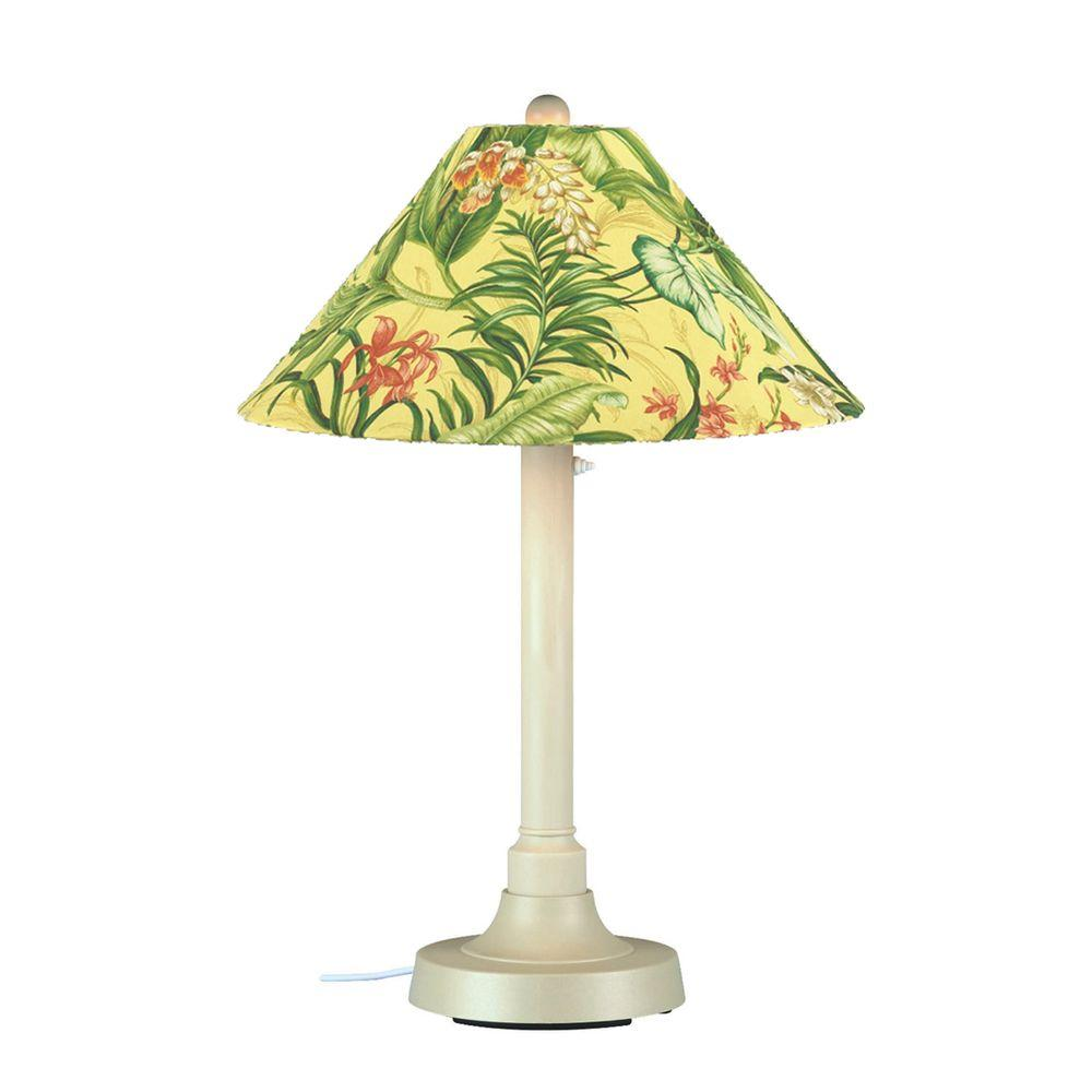 Patio Living Concepts San Juan 34 in. Outdoor White Table Lamp with Soleil Shade
