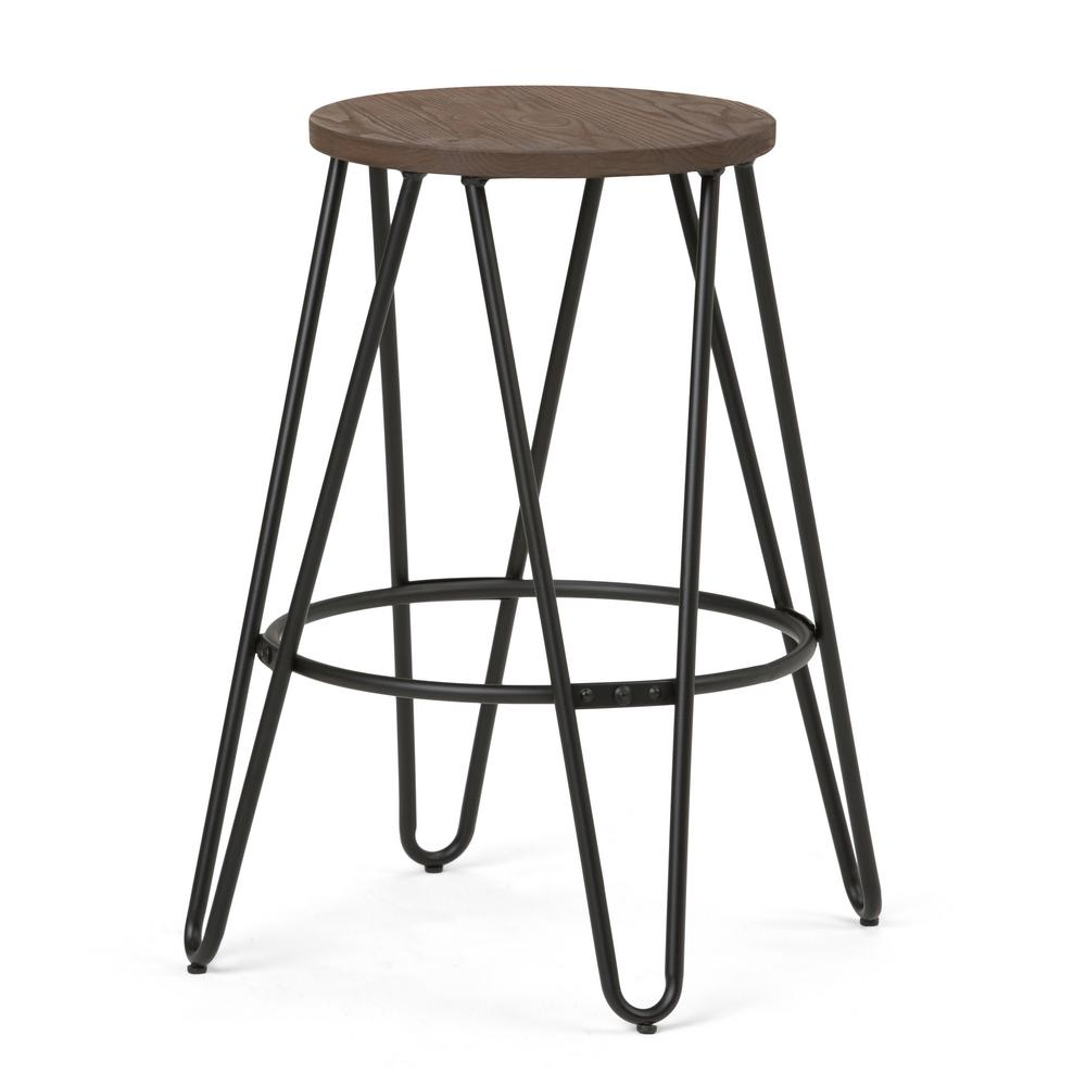 Black And Cocoa Brown Metal Counter Height Stool With Wood