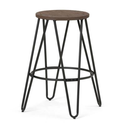 Simeon 24 in. Black and Cocoa Brown Industrial Metal Counter Height Stool with Solid Wood Seat