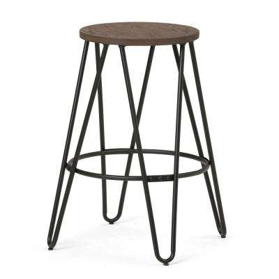 Simeon 24 in. Black and Cocoa Brown Metal Counter Height Stool with Wood Seat