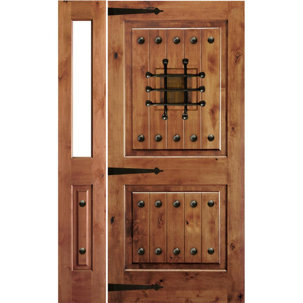 Krosswood Doors 44 in. x 80 in. Mediterranean Alder Sq Clear Low-E Unfinished Wood Right-Hand Prehung Front Door with Left Half Sidelite