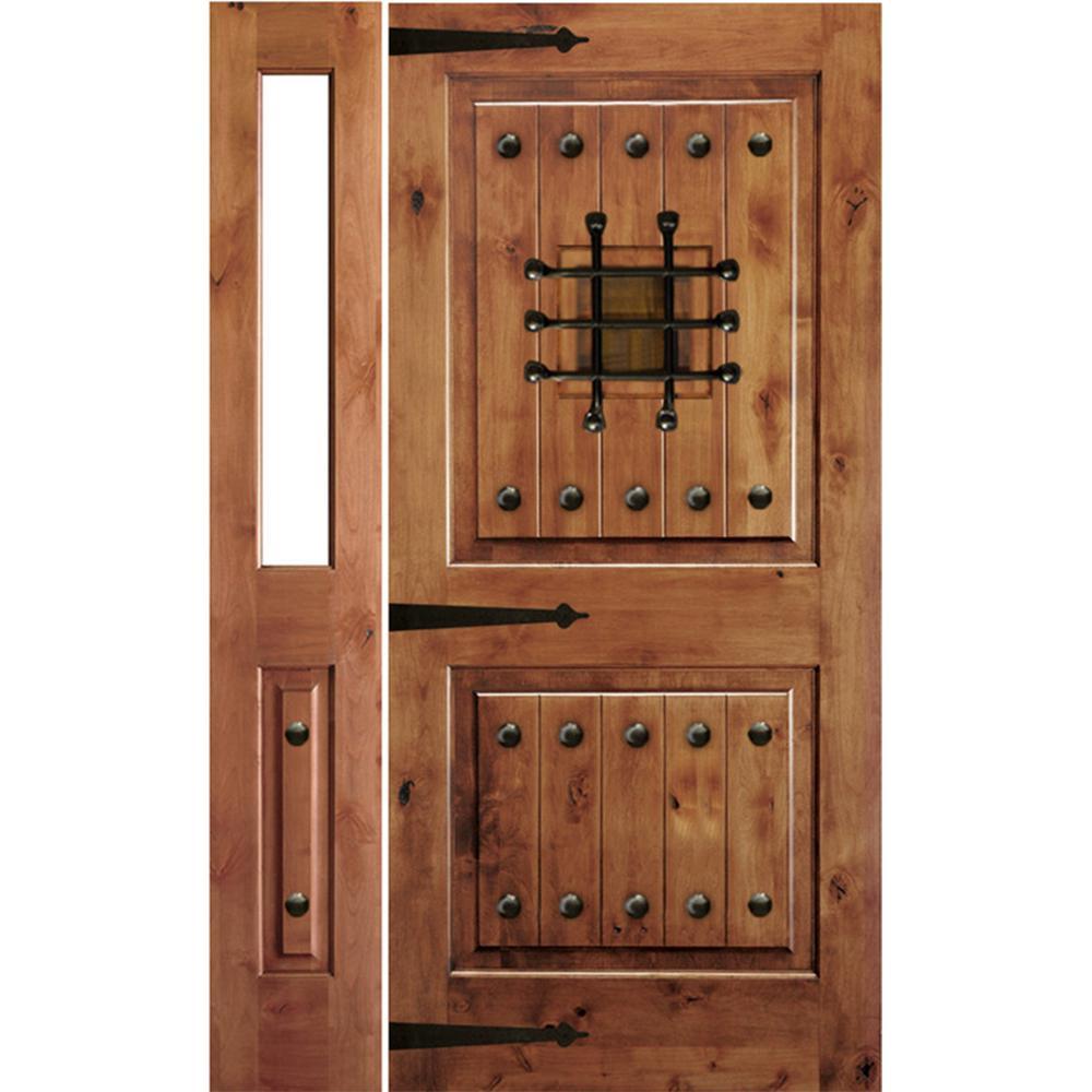 Krosswood Doors 46 in. x 80 in. Mediterranean Alder Sq Clear Low-E Unfinished Wood Left-Hand Prehung Front Door with Left Half Sidelite