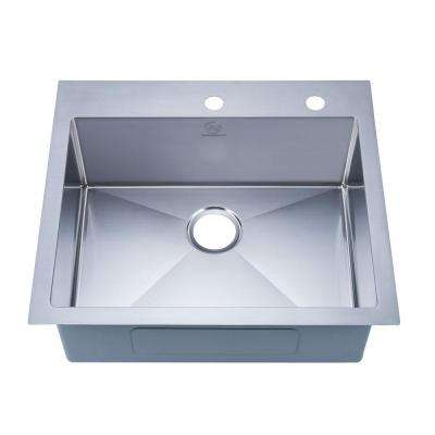 NationalWare Drop-in Stainless Steel 25 in. 2-Hole Single Bowl Kitchen Sink in Stainless Steel
