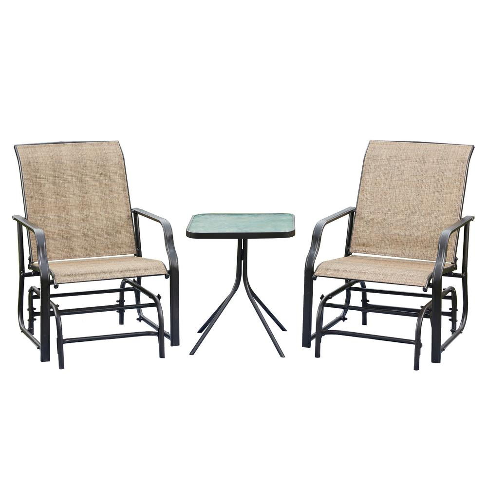 Patio Festival 3-Piece Sling Patio Conversation Glider Seating Set