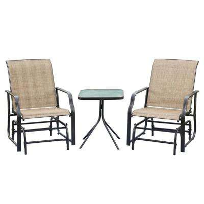 3-Piece Sling Patio Conversation Glider Seating Set