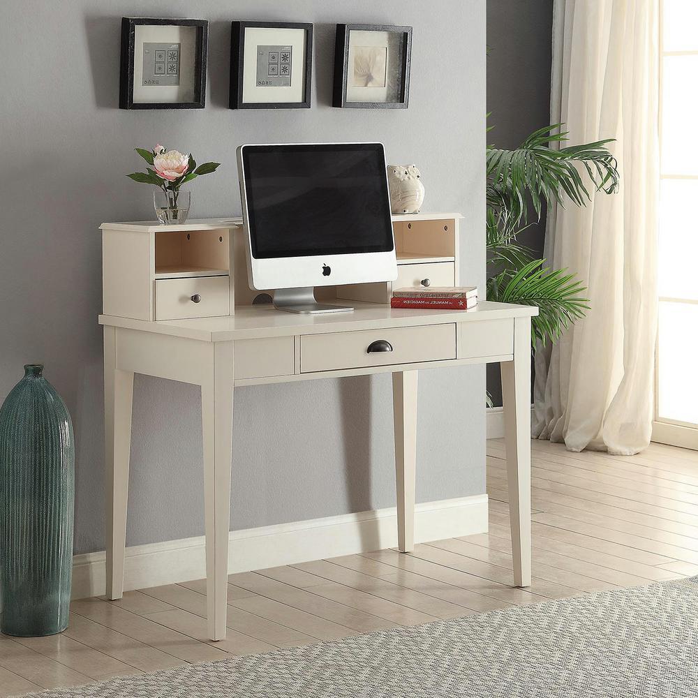Claire White Desk with Hutch