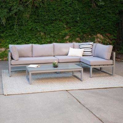 Boardwalk Grey Metal 4-Piece All-Weather Outdoor Conversation Set with Grey Cushions and Coffee Table
