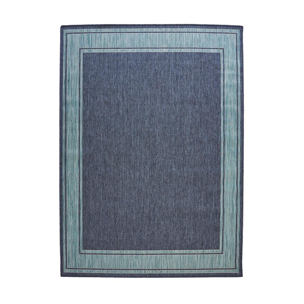 Blue Aqua Border Flat Woven Weave 7 ft. 5 in. x 10 ft.  sc 1 st  The Home Depot & Outdoor Rugs - Rugs - The Home Depot