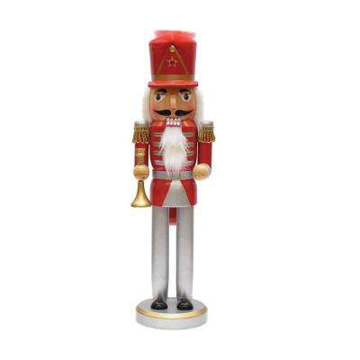 14 in. Red, Silver and Gold Wooden Christmas Nutcracker