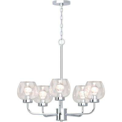 Aria 5-Light Polished Nickel Chandelier with Clear Glass Shade
