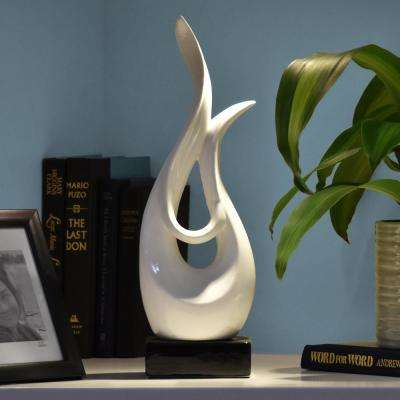 16 in. H Abstract Decorative Sculpture in White Gloss Finish