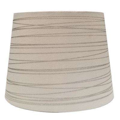 Mix and Match 10 in. Dia x 7.5 in. H White with Silver Foil Stripes Round Accent Lamp Shade