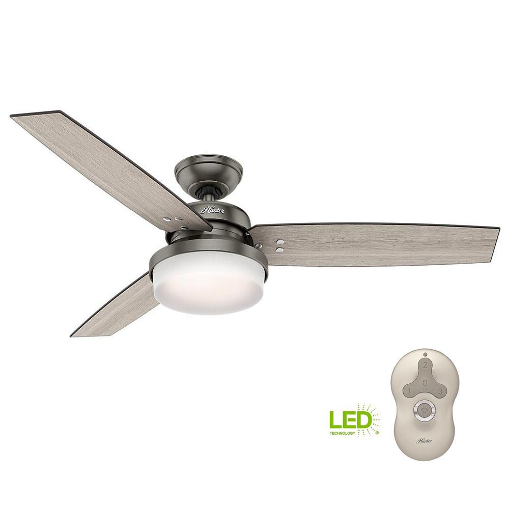 Hunter Sentinel 52 In Led Indoor Brushed Slate Ceiling Fan With Wiring Light And Remote Kit Universal