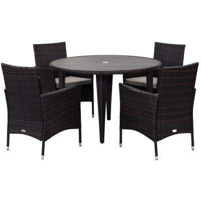 Cooley Brown 5-Piece Wicker Outdoor Bistro Set with Sand Cushions