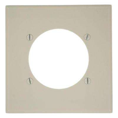2-Gang with 2.465 in. Dia Hole, Standard Size Plastic Power Outlet Wall Plate - Light Almond