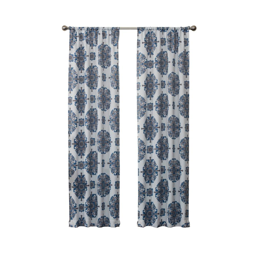 Eclipse Blackout Olivia 95 in. L Navy Rod Pocket Curtain (1-Pack)