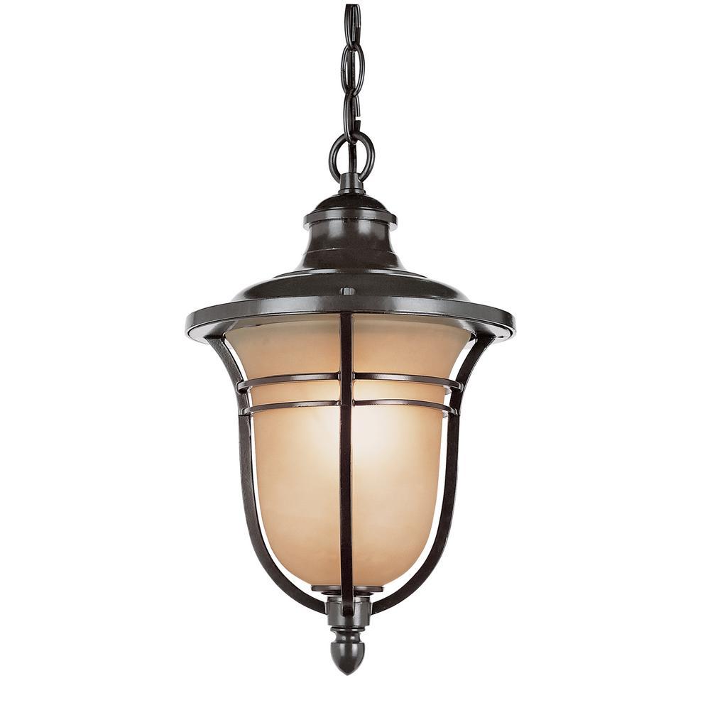 1-Light Rubbed Oil Bronze Outdoor Hanging Lantern