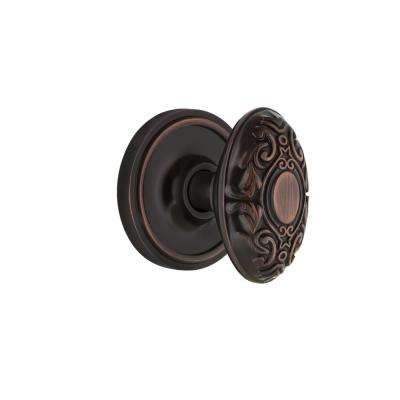 Classic Rosette 2-3/8 in. Backset Timeless Bronze Privacy Bed/Bath Victorian Door Knob